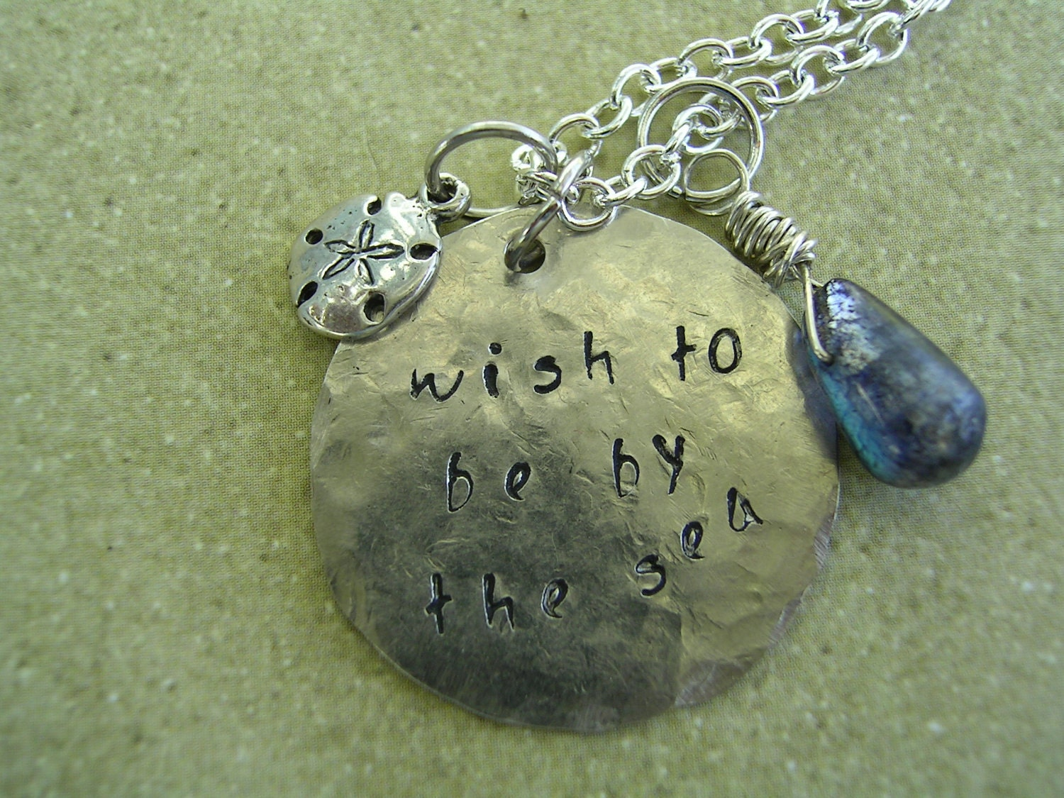 Labradorite Wish To Be By The Sea Sanddollar Necklace
