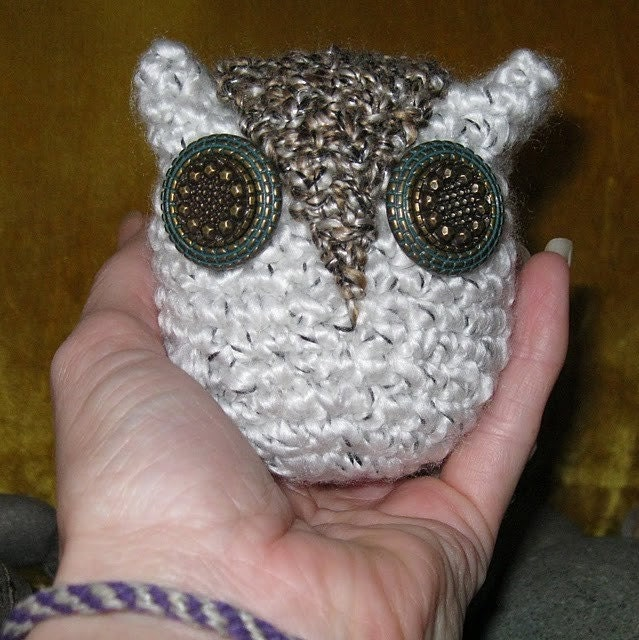 Unusual White Owl with Coppery Button Eyes accented with Green. Handmade. Crocheted