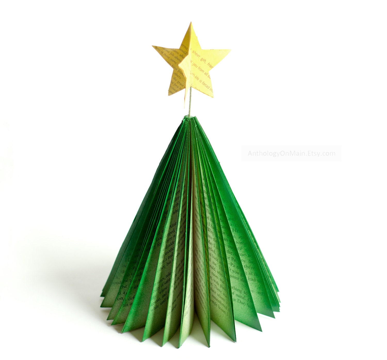 Colorful Paper Christmas Tree Decoration - CHOICE OF COLOR - Medium Size - Holiday Folk Book Page Tree with Star - Holiday Home Decor - AnthologyOnMain