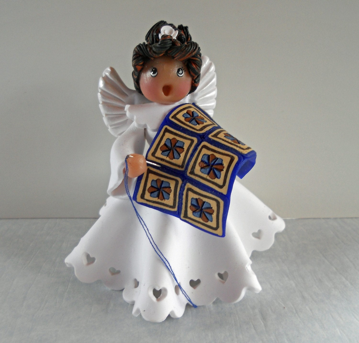 Dresden Blue Quilt Angel polymer clay