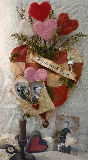 Sweets For The Sweet Valentine E Pattern - email primitive PDF banner old photos quilt heart sweet annie envelope