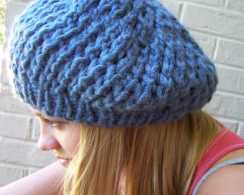 Knitting Pattern For Chunky Beret : Chunky Knit Slouchy Hat Knit Beret Chunky by ...