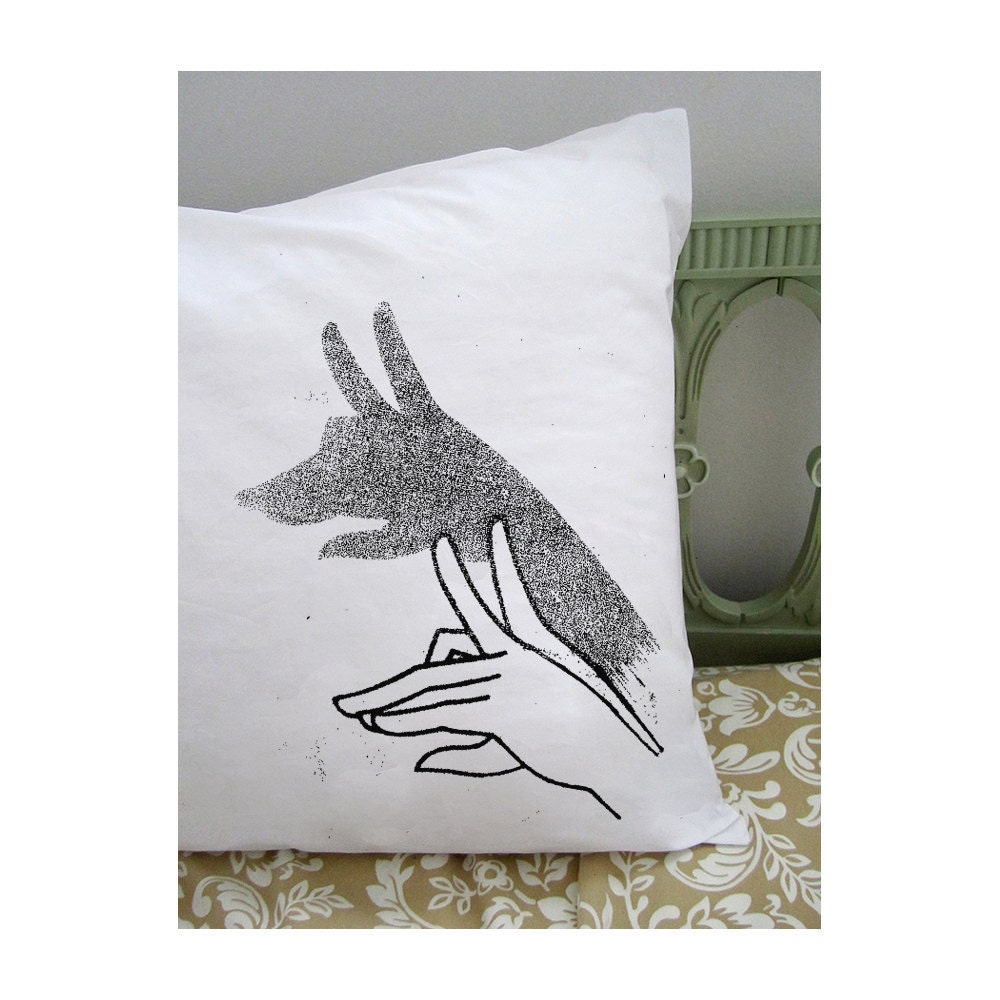 Wolf shadow puppet pillowcase. white cotton. black screenprint.