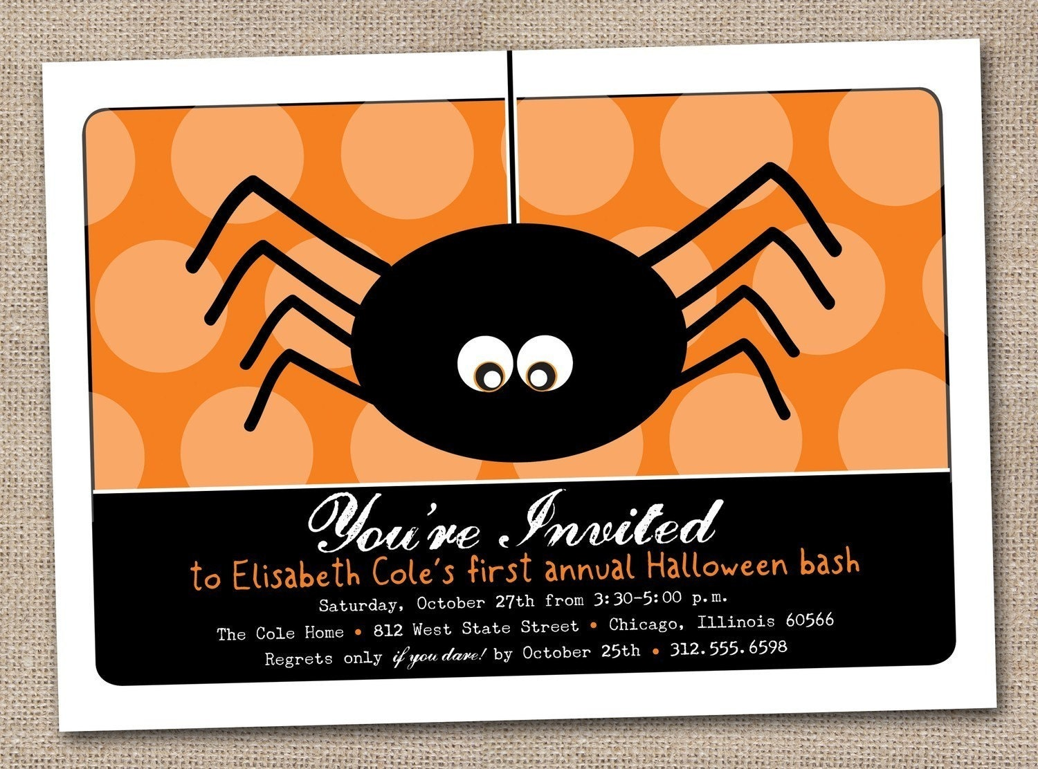Printable Spooky Spider Orange Kids DIY Halloween Party Invitation