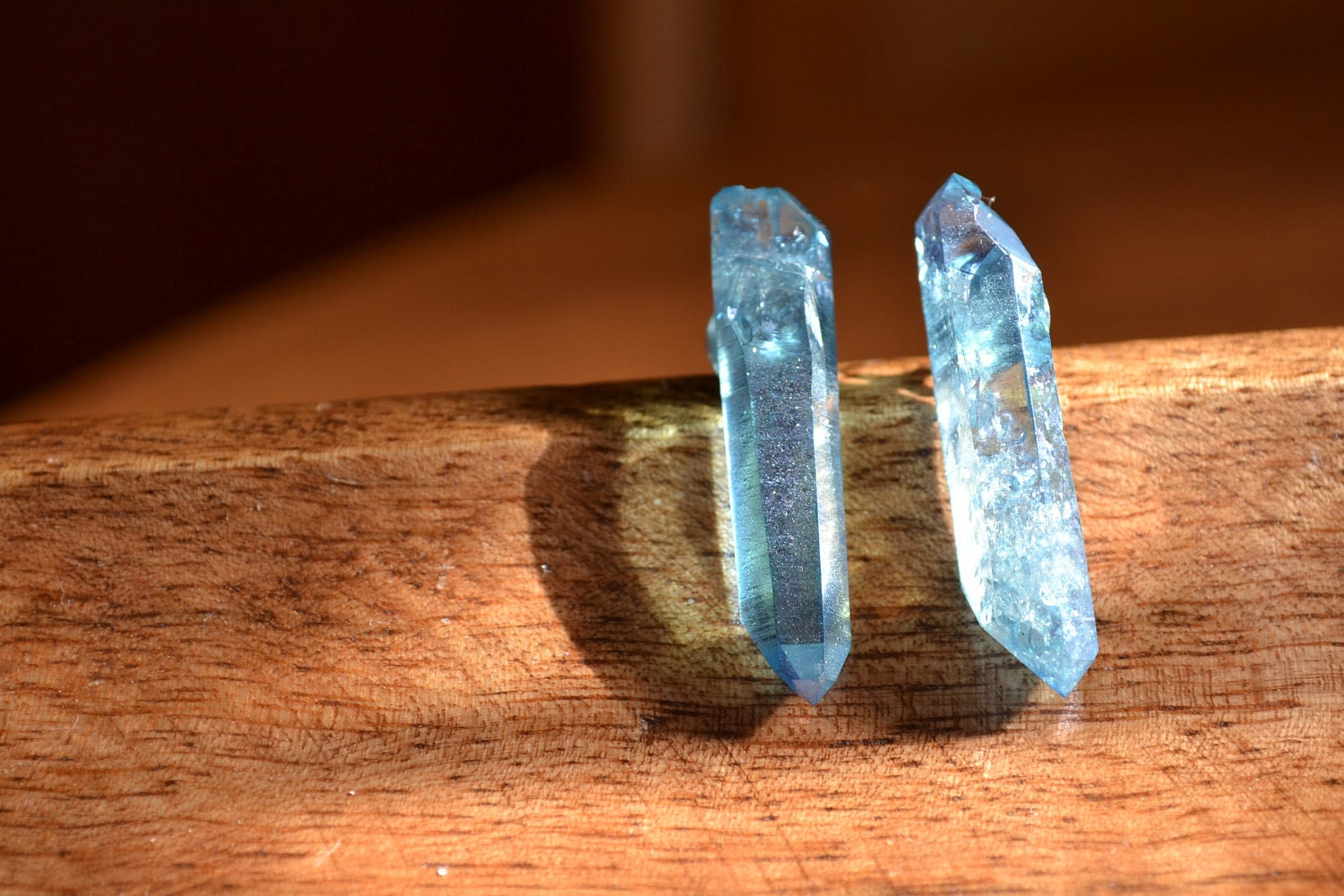 DOUBLE TERMINATED Aqua Aura Earrings Post Stud Crystal Point Gold Coated Quartz - PrairieFairyDesigns