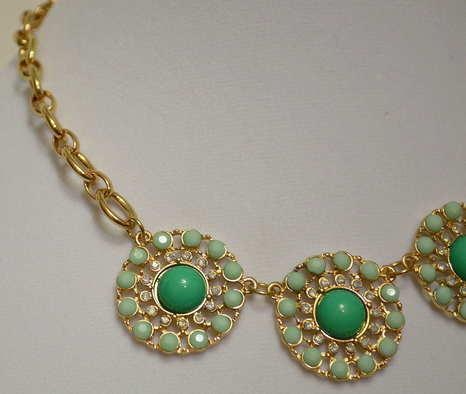 HOLIDAY SALE - Enameled Turquoise & Crystal Necklace