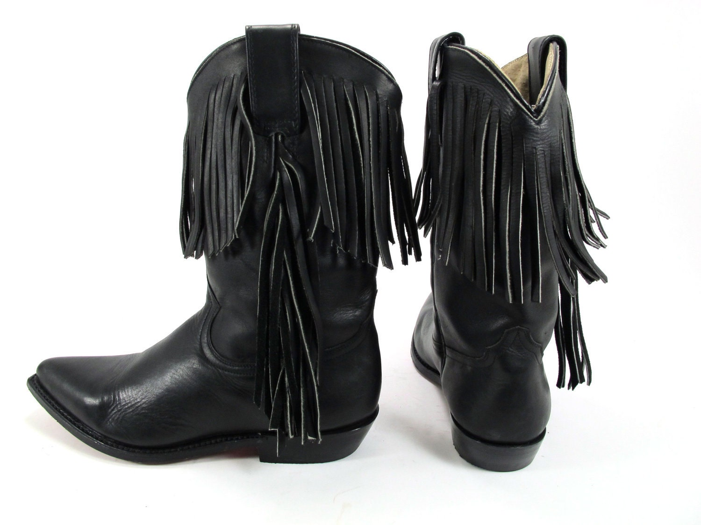vintage pointy black leather fringe cowboy boots by kokorokoko