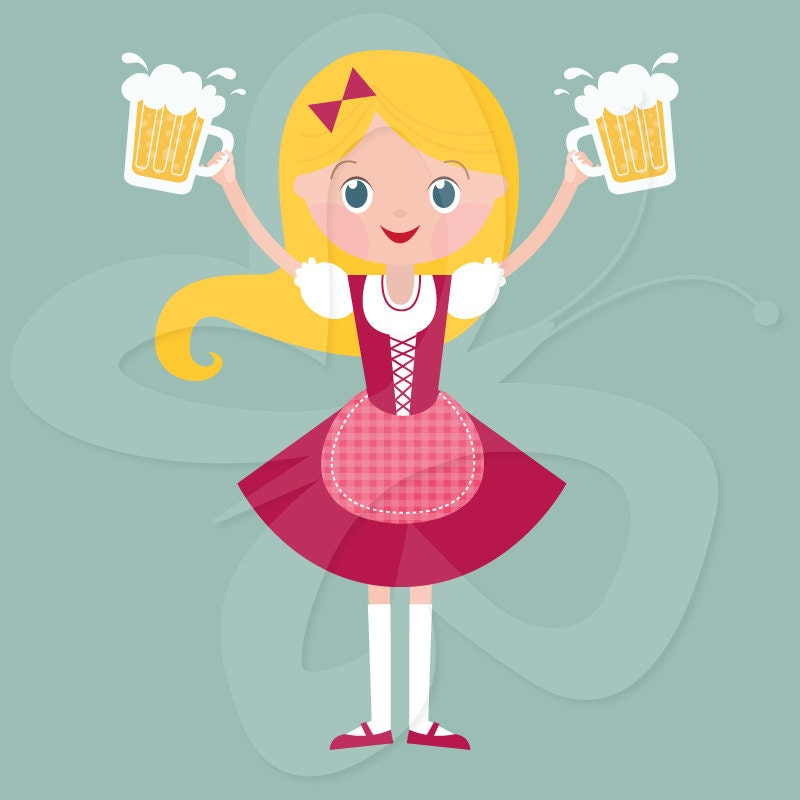 Oktoberfest Beer Maiden Clip Art Clipart Set - Commercial and Personal ...