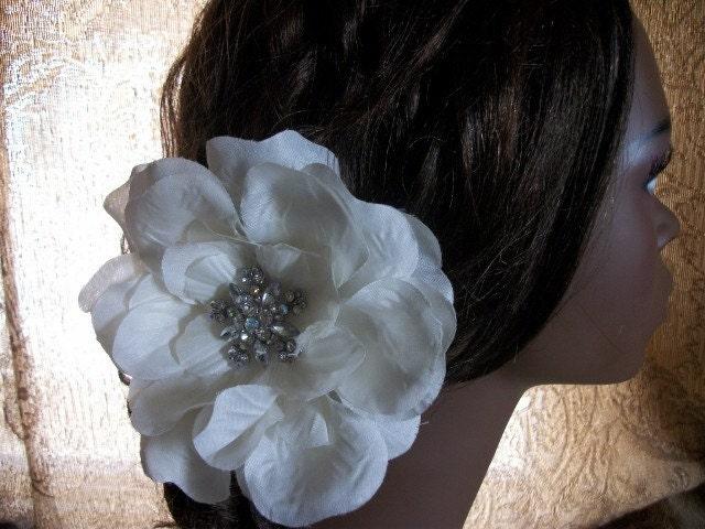 Glam Ivory Flower With Rhinestone Brooch