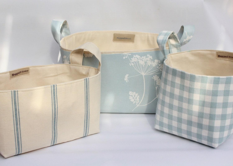Set Of  Fabric Storage Baskets Duck Egg Blue Stripe