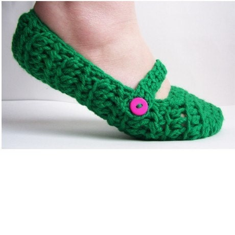Womens Crochet Mary Jane Slippers-Kelly Green