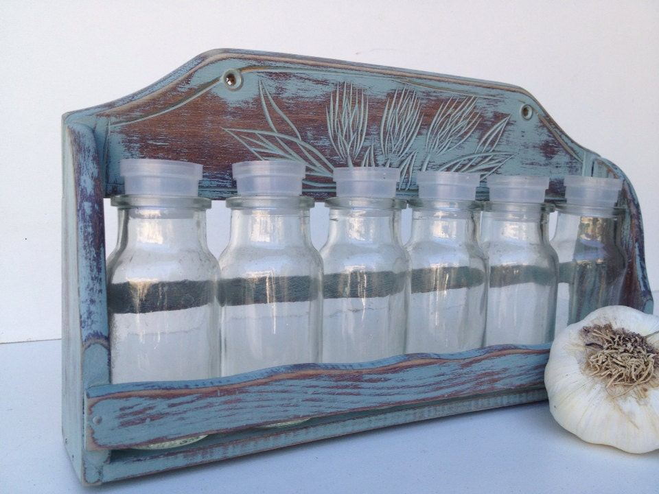 Rustic Blue Spice Rack With Jars - shabbyshores