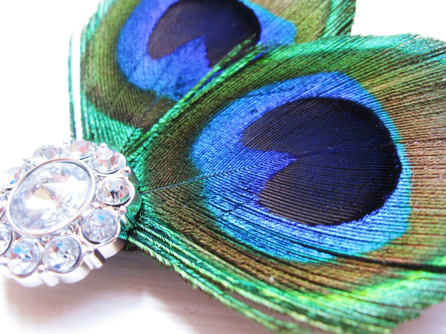 Elegant Peacock Feathers and sparkling gemstone- bride or formal hair accessory