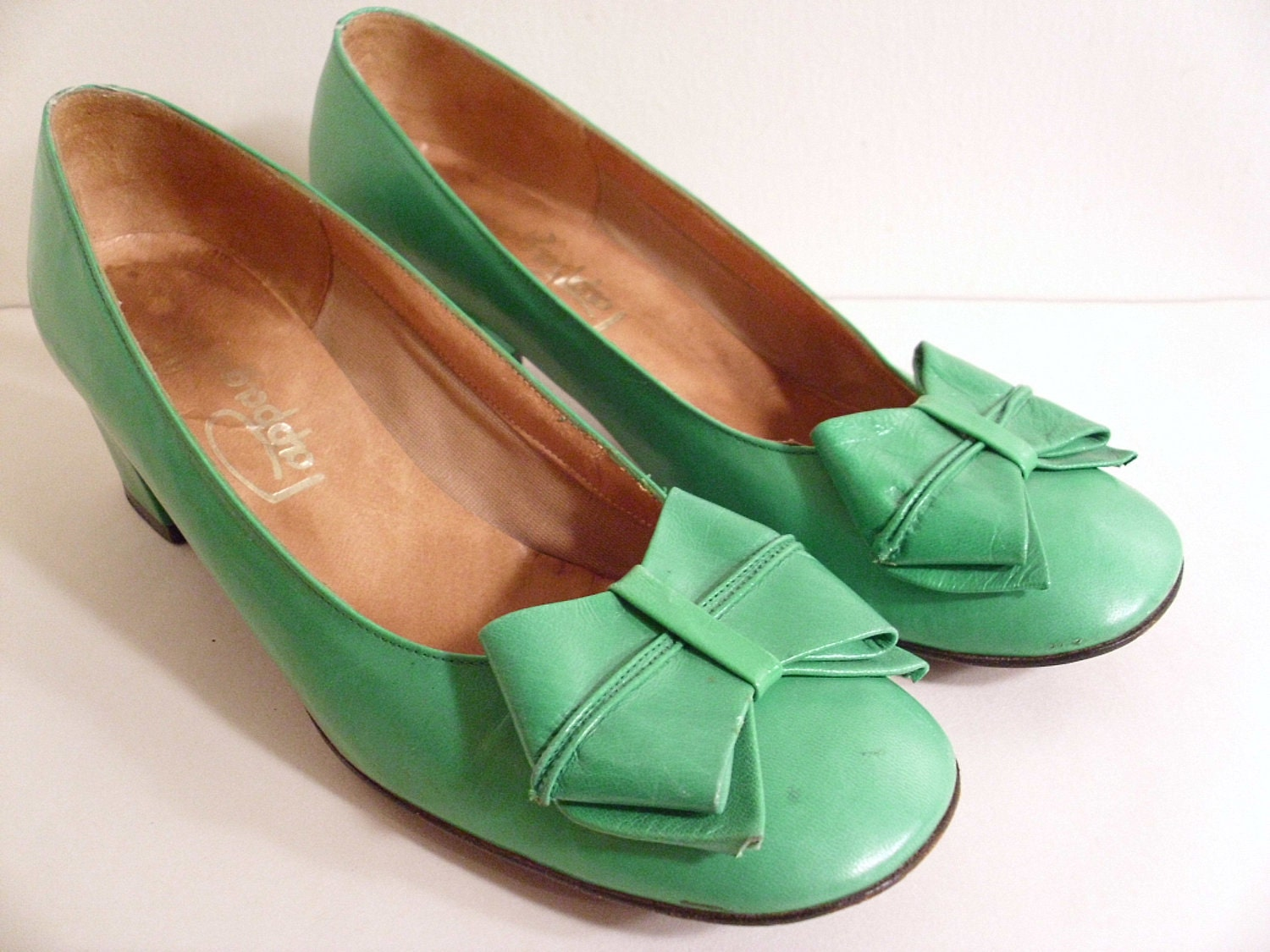 Vintage Green Leather Pappagallo Shoes 6 1/2 M