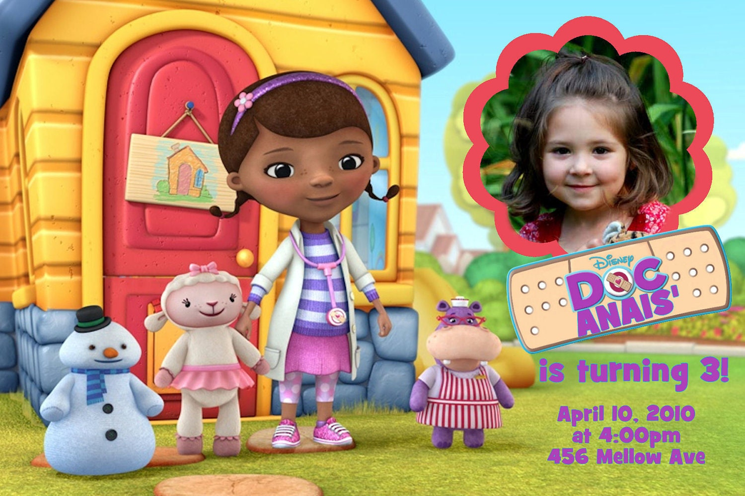 Doc McStuffins  Birthday Party Invitations 24 HOUR SERVICE 4x6 or 5x7