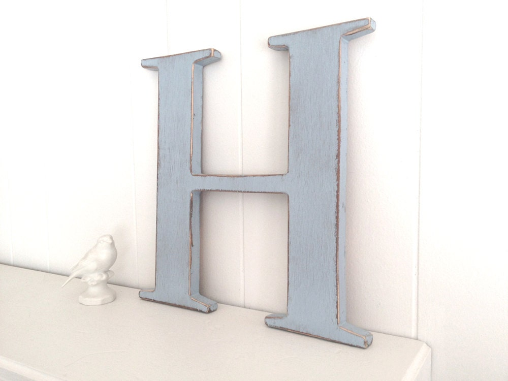 letter H wood cottage chic wall decoration wedding something blue - Soft Blue - OldNewAgain