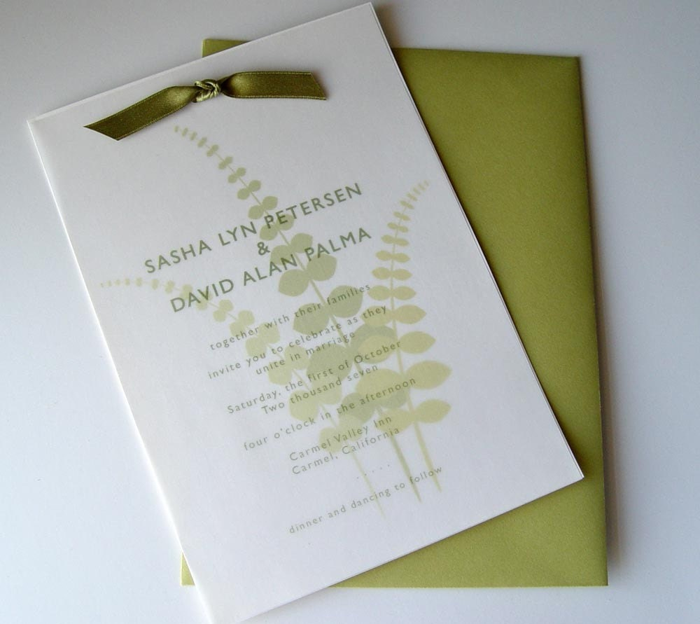 Modern Fern Wedding Invitation Set of 50