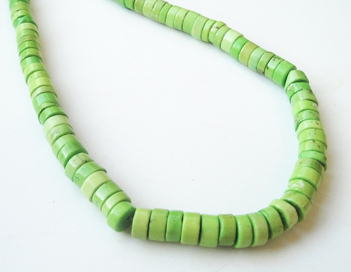 Lime Green Turquoise Howlite Coin Disc Beads / Whole Strand 16""