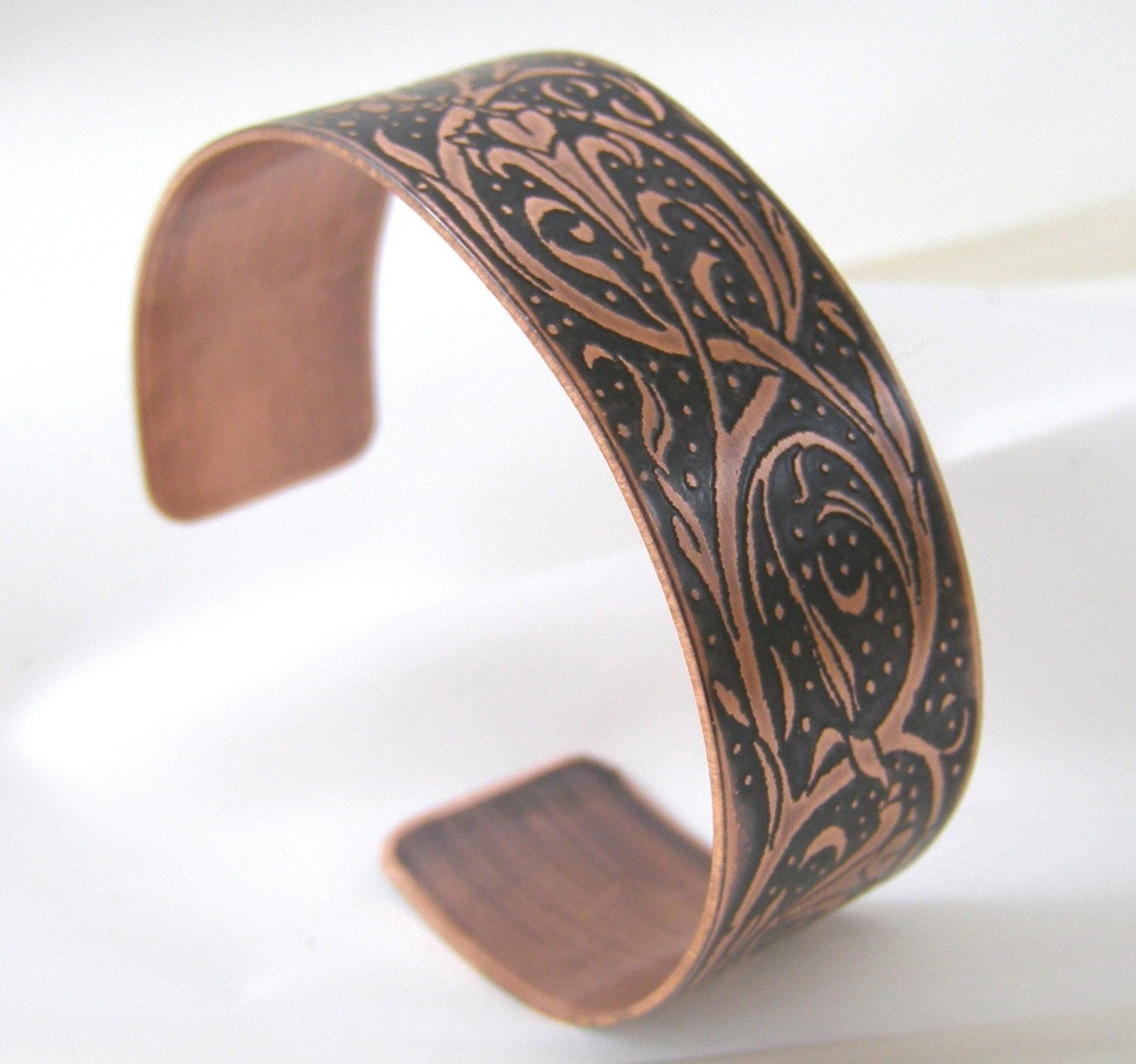 Etched Copper Cuff Bracelet - Nouveau Lilies - Sz Medium