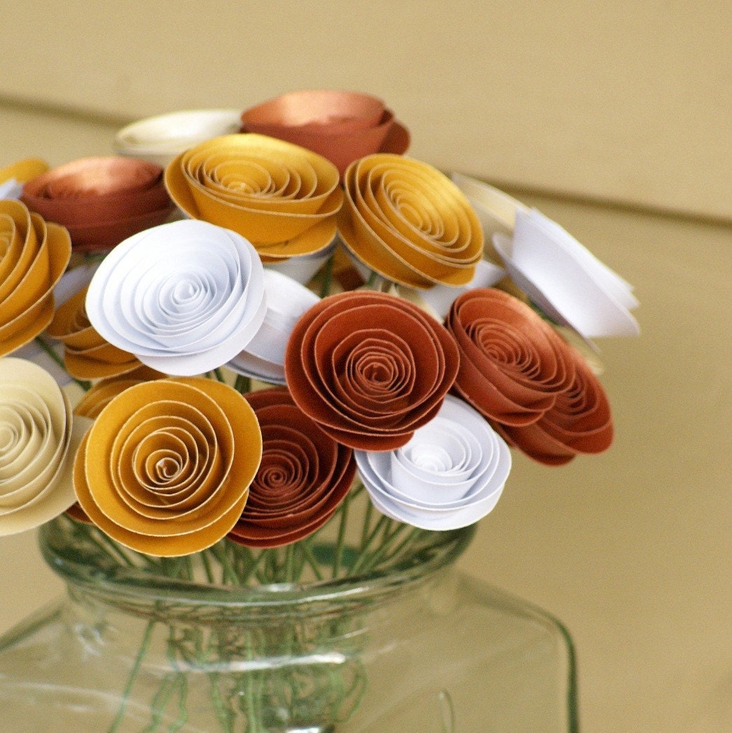 Bouquet of Paper Flowers in Heavy Metals -- Iridescent Bronze, Copper, Gold and White Paper