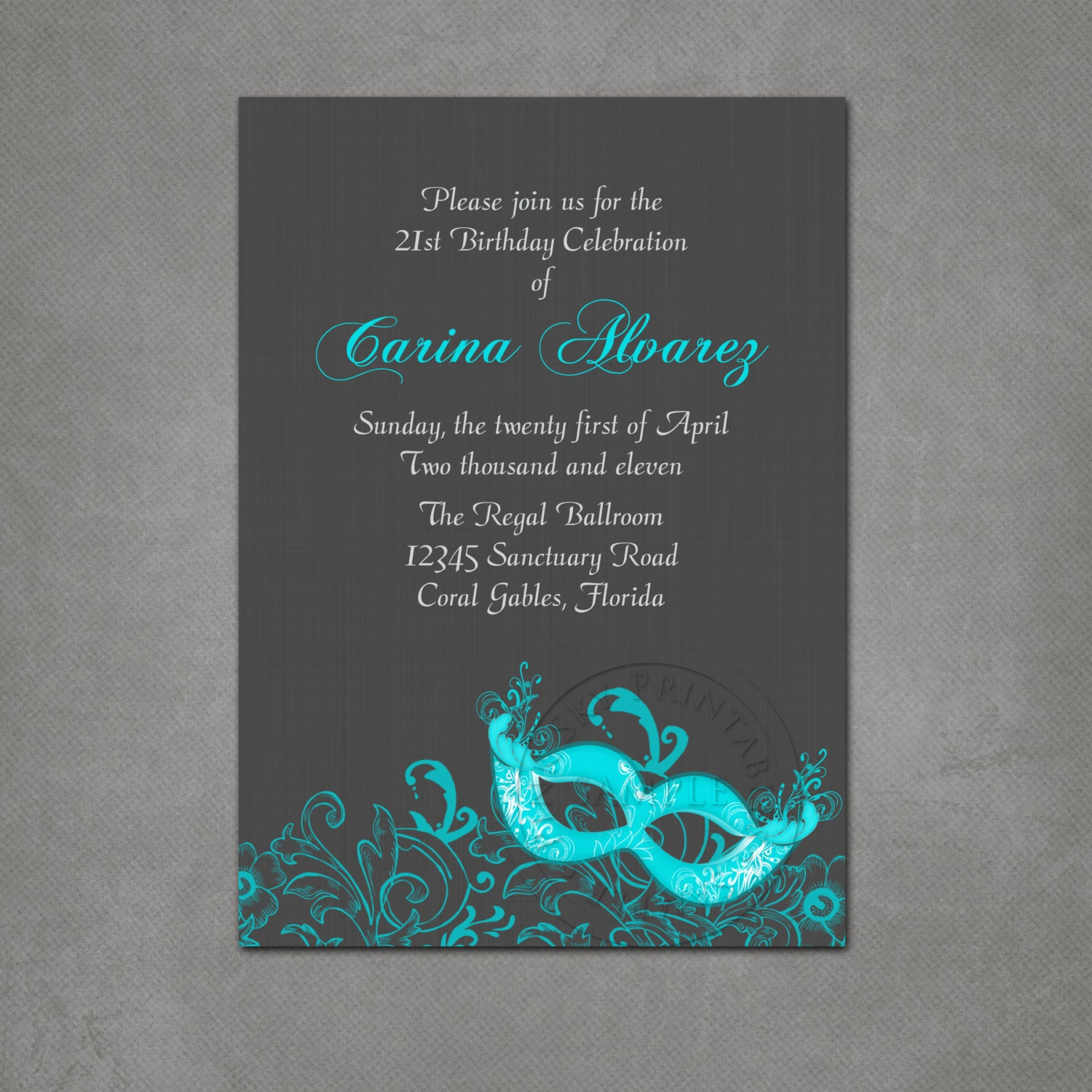 masquerade ball birthday party invitation by pinkskyprintables