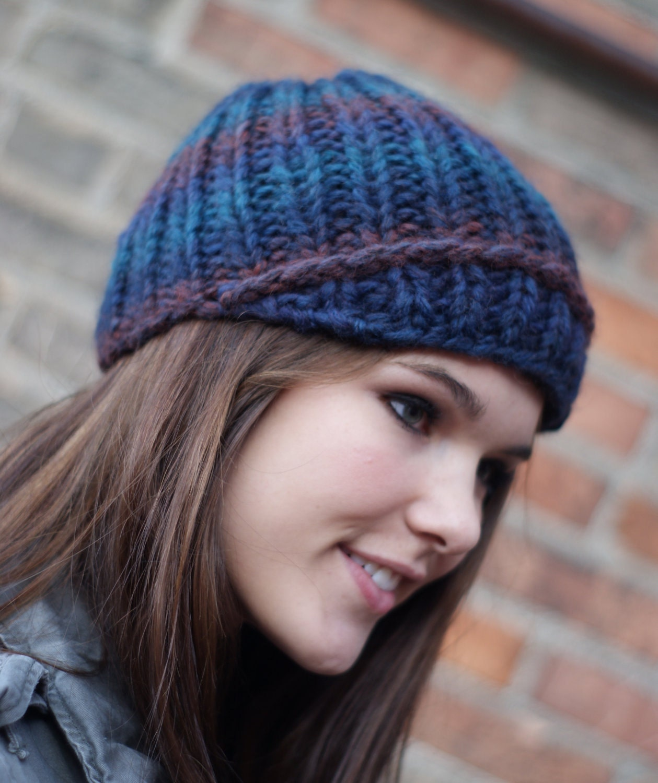 Hand Knit Womens Modern Newsboy Hat Blue Fall  Fashion Winter Fashion Autumn Fashion Back to School