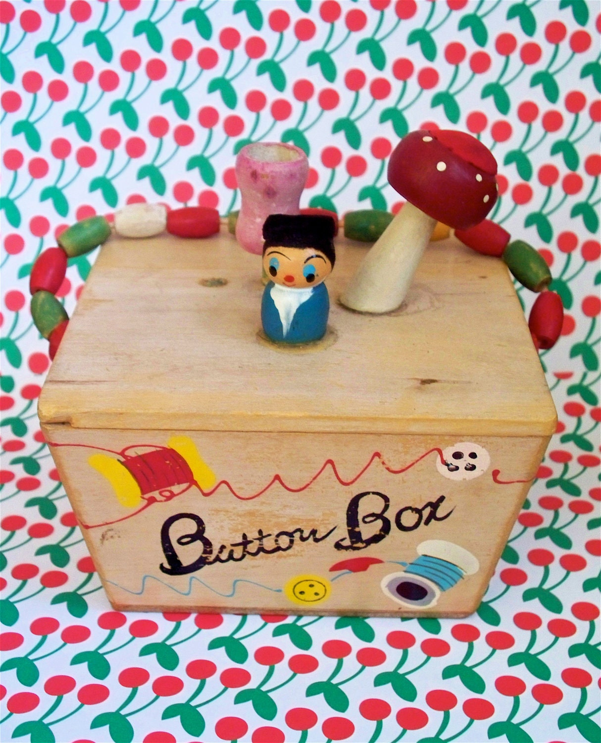Vintage Kitsch Wood Painted Button Box with Gnome and Mushroom  Beaded Handle  Includes vintage Buttons
