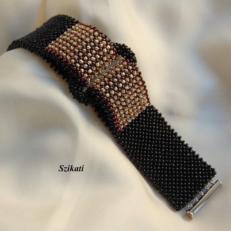 Beaded black Right Angle Weave seed beaded cuff bracelet, OOAK jewelry, beadwoven jewelry, elegant jewelry, unique shaped elegant bracelet