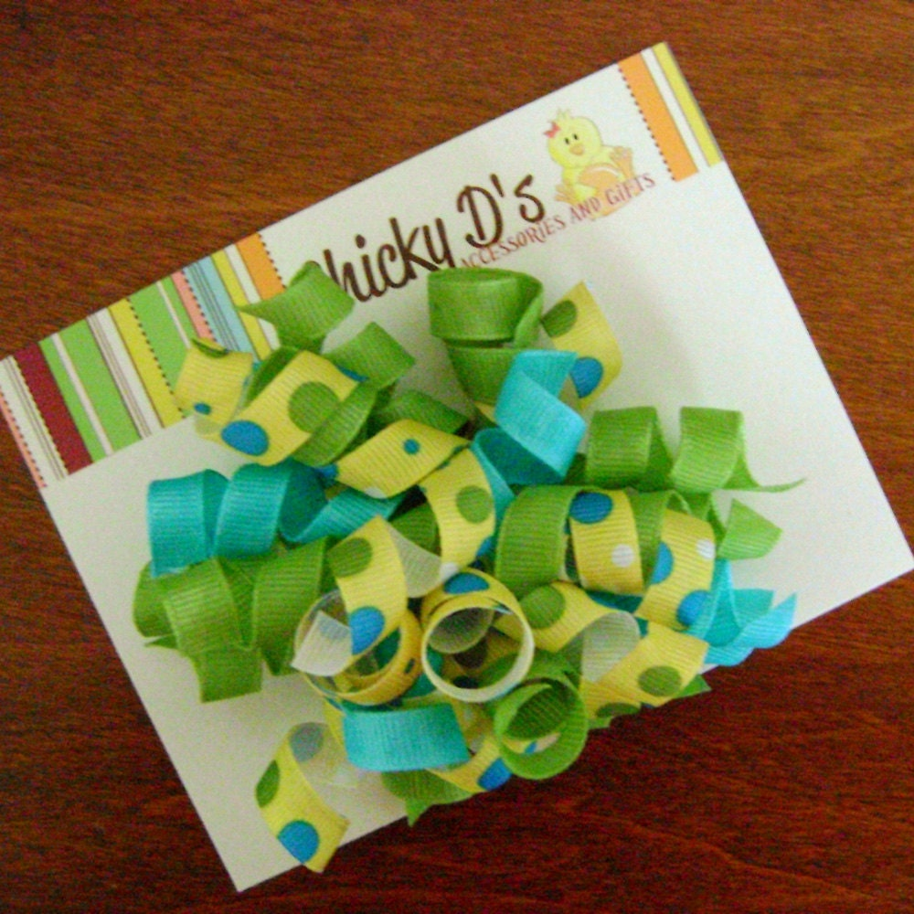 Blue Green Yellow Polka Dot Boutique Style Korker Bow