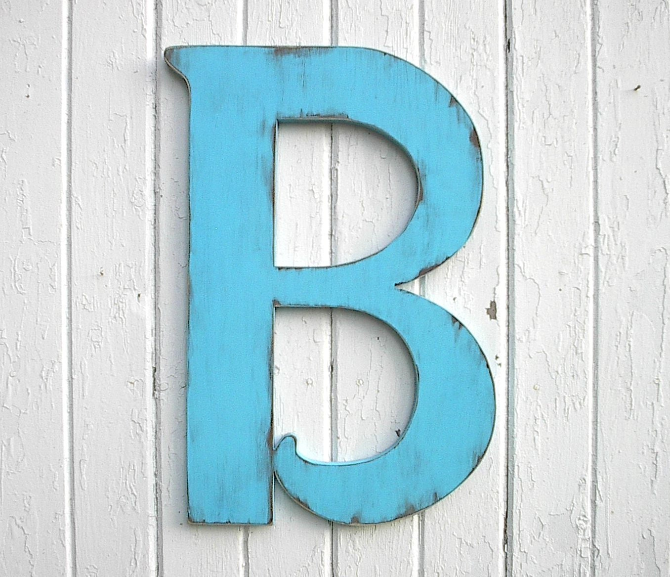 24 inch letter b wooden shabby chic wall hanging by for Party wall act letter to neighbour