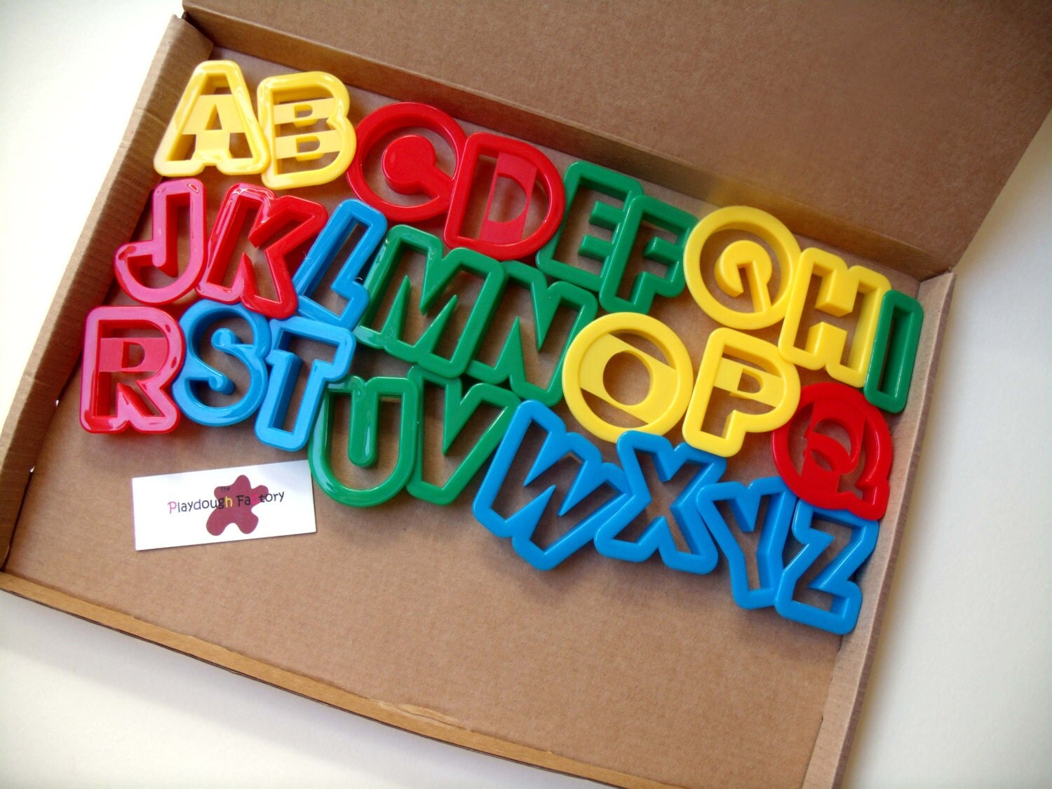 Play dough tools alphabet cutters by thedottydoughfactory for Playdough letter cutters