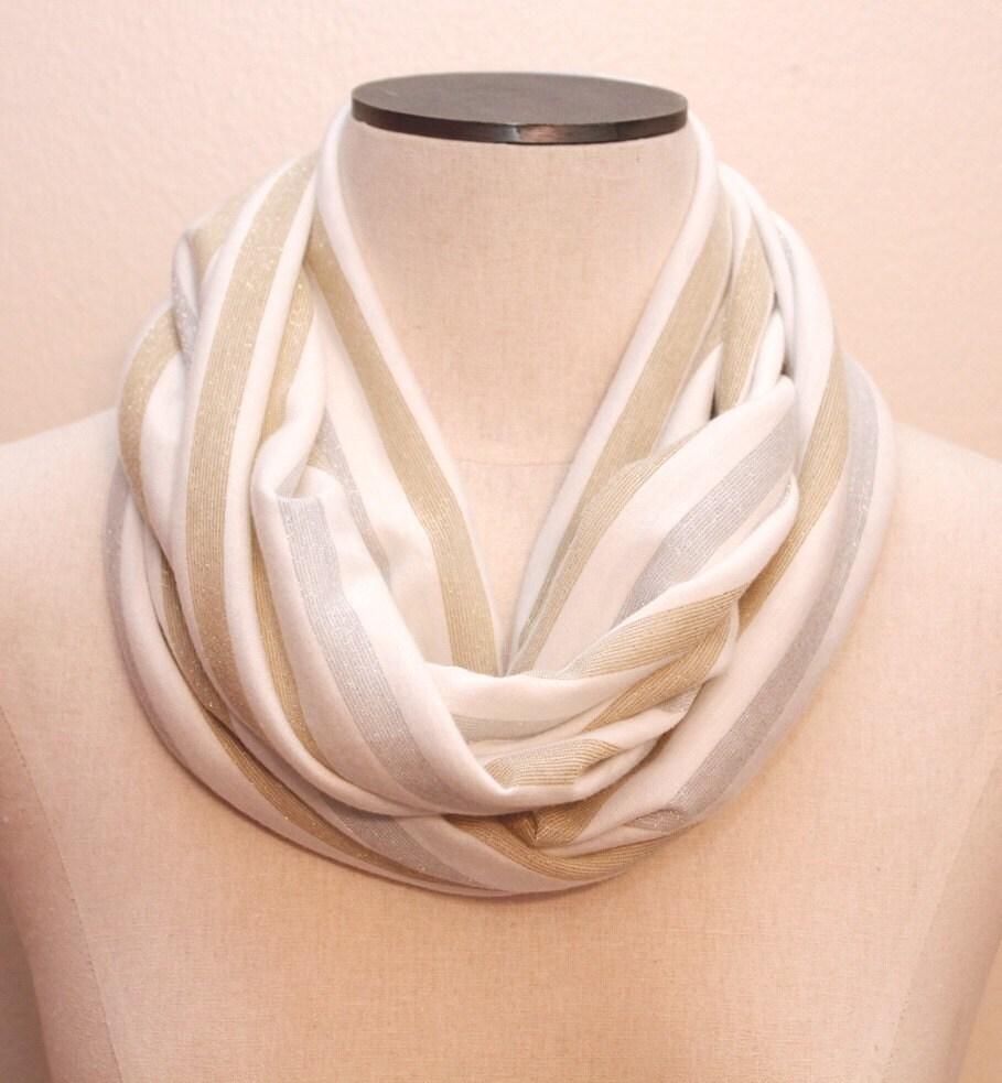 Ivory / Silver / Gold Stripe Infinity Loop Scarf
