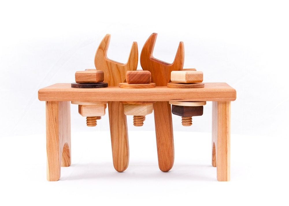 Hardwood Workbench and Tools-Cherry Wooden Toy