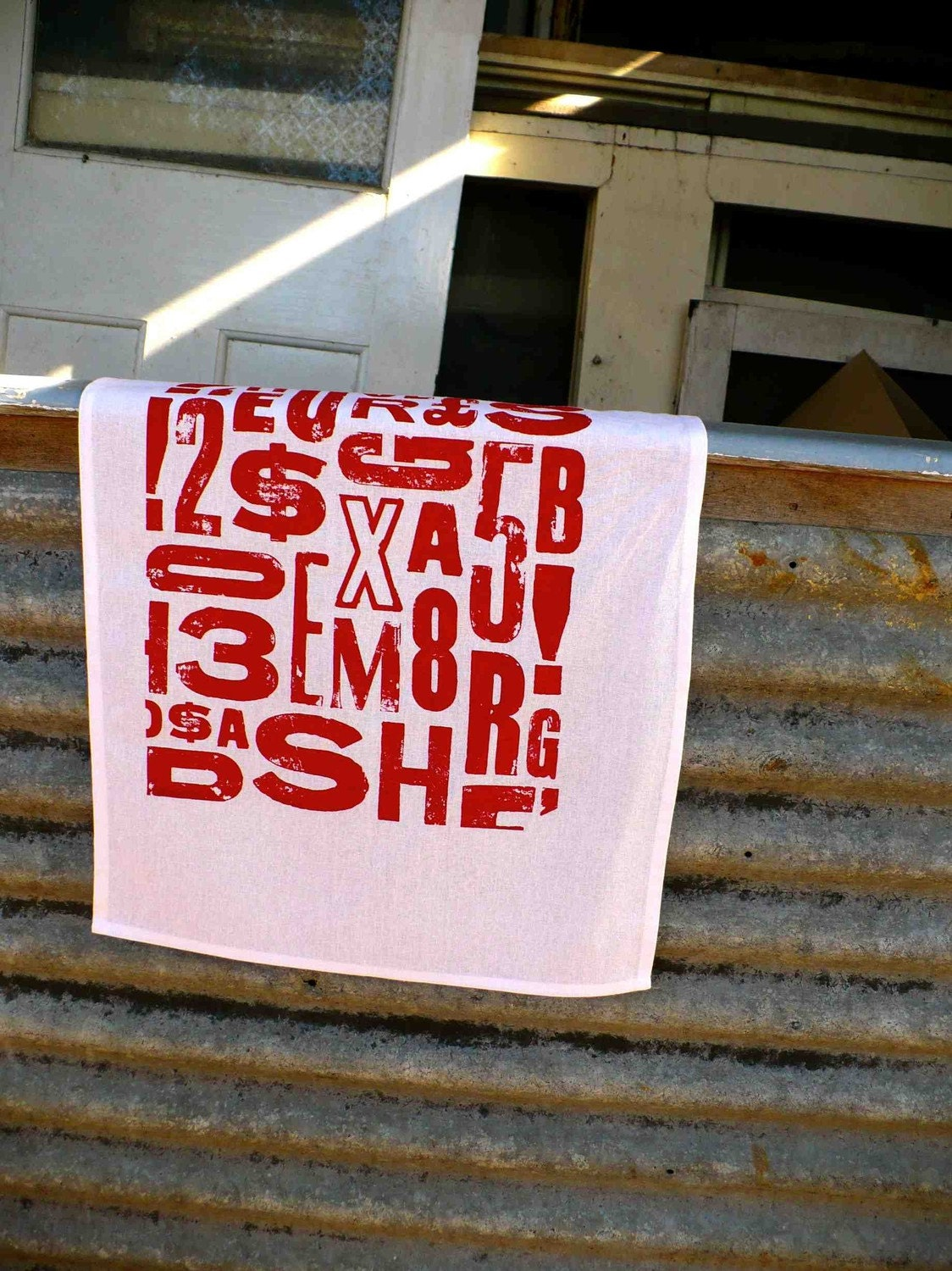 RED Urban Type Screenprinted Cotton Tea Towel