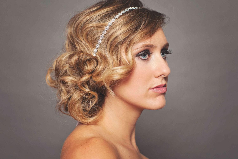 Korrine- Silver, rhinestone and white ribbon bridal headband