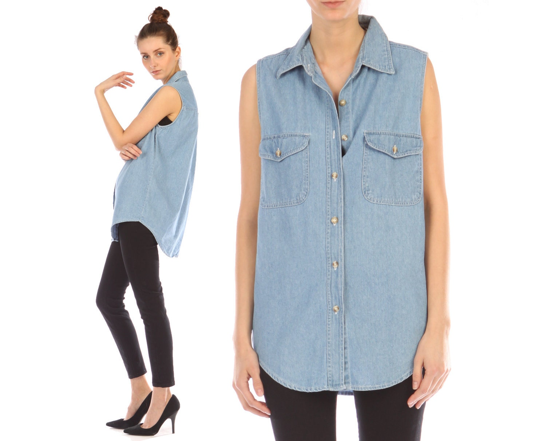 vintage 90s denim shirt sleeveless tank top by