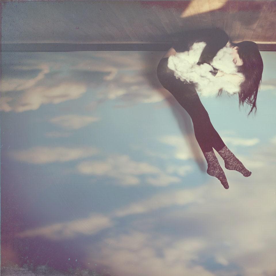 """A Dream like Mine - 10""""x10"""" Fine Art Photograph Print ( girl whimsical cloud sky ) - AudreySimper"""