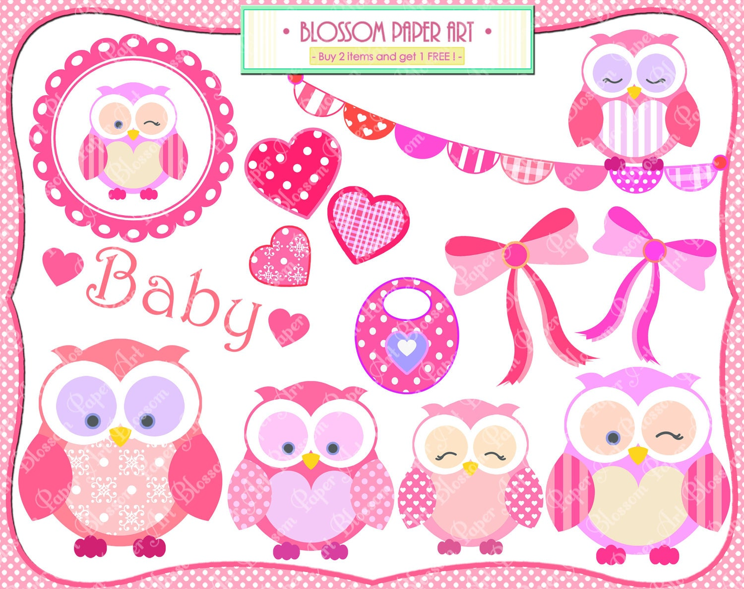 baby girl owls clipart baby shower cardmaking by blossompaperart
