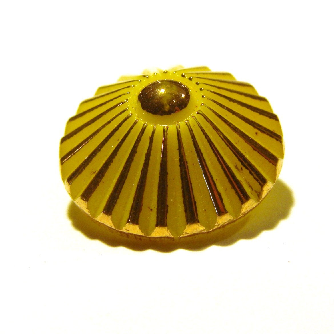 Yellow Button with Gold Details - VintageStation