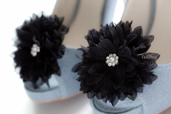 ISABEL- Crystal Bloom Chiffon Flower shoe clips in Black