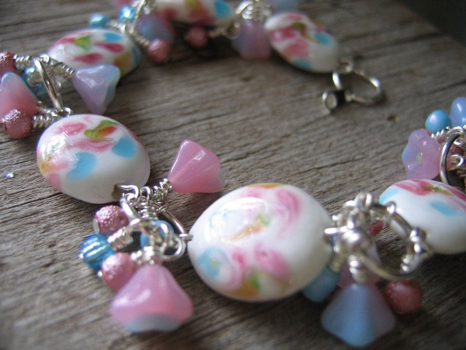 Floral Pastel Lampwork Charm Bracelet and Earrings