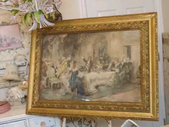 items similar to antique european painting print v j