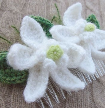 CrochetCashmere White Orchids Hair Comb