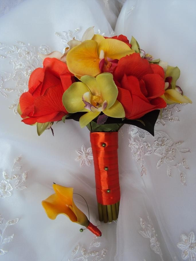 Silk Orange Roses Wedding Bouquet with Matching Calla Lily Boutonniere