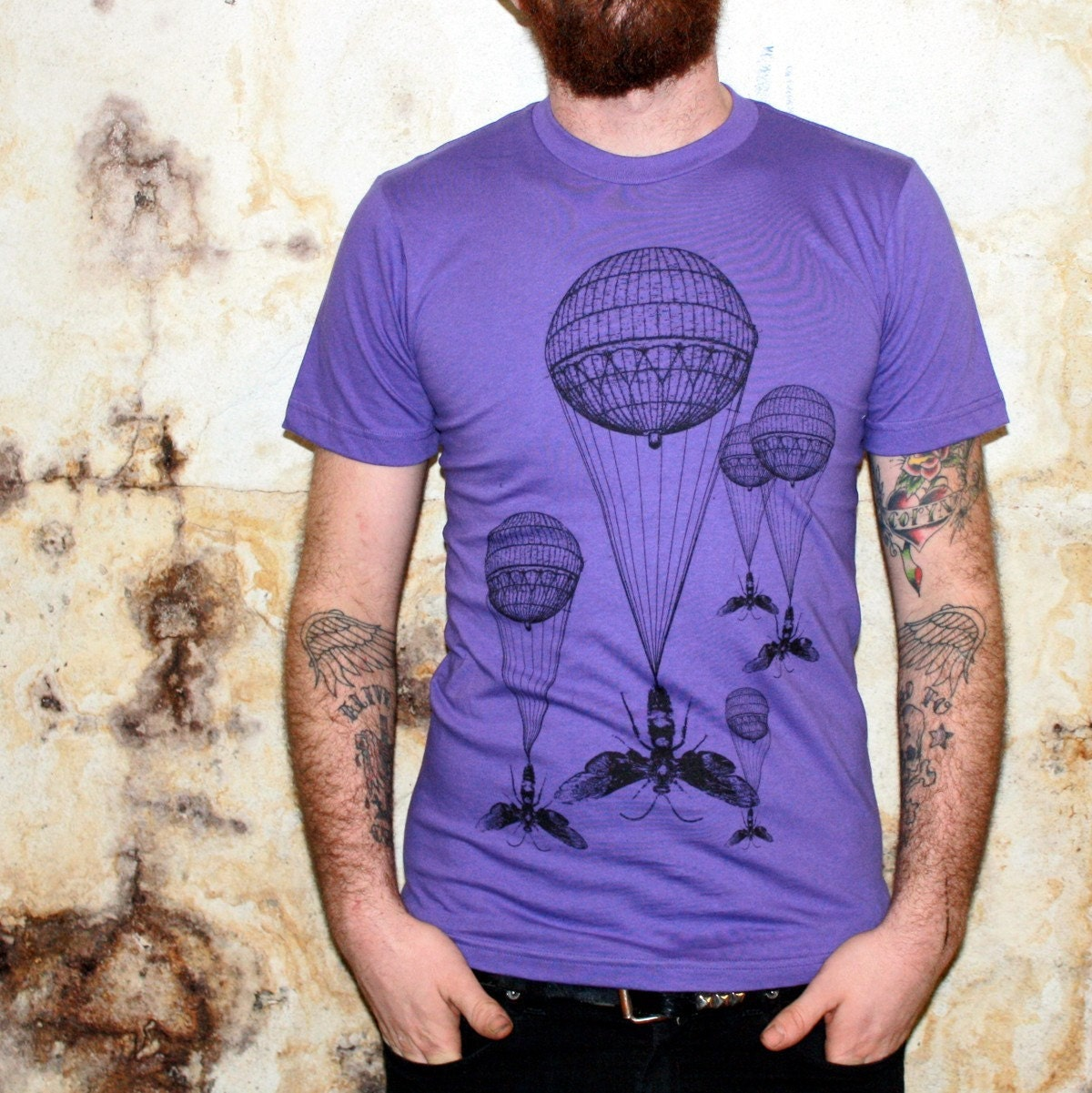 Steampunk TShirt - Hot Air Balloon Wasp Illustrated Design - American Apparel Purple Shirt - Free Shipping - Available in XS, S, M, L, XL and XXL
