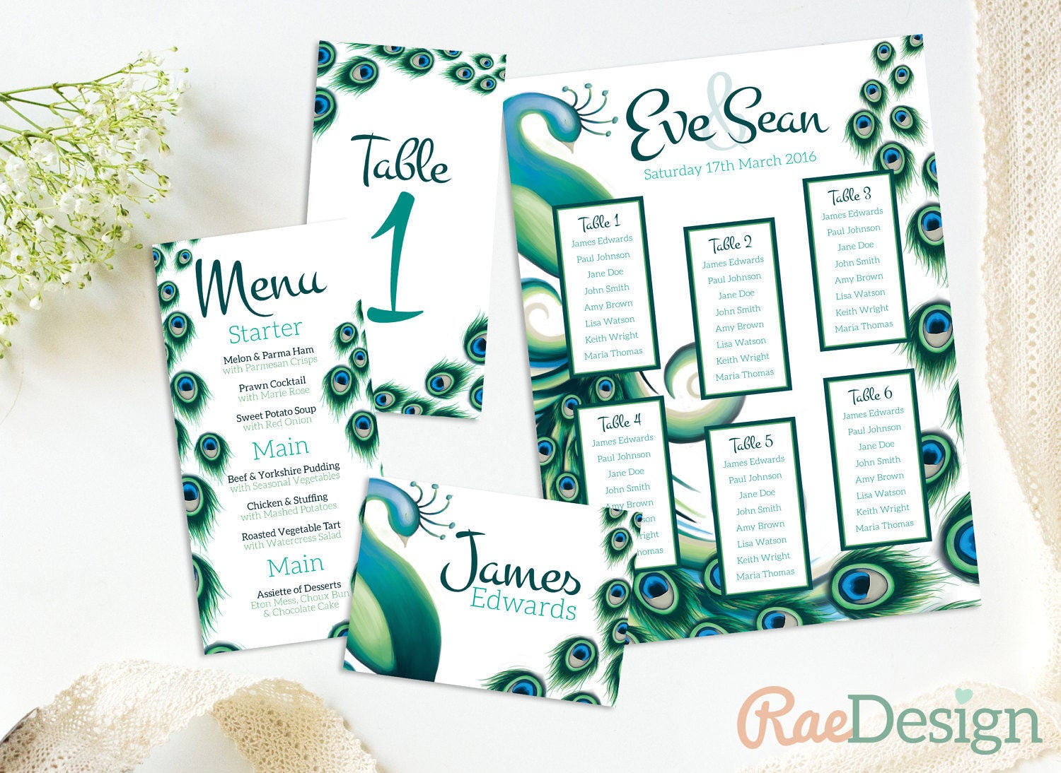 Peacock Wedding Table Set  Printable Seating Plan Feather Menu Bird Table Card Name Card Wings Green Blue Wedding Breakfast Meal