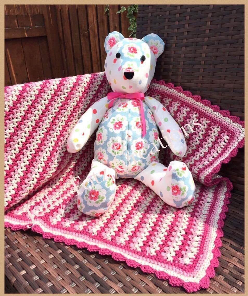 Jelly Totz Handmade Modern Crochet Baby Blanket  Baby Girl Pink Stripe Pram Car Seat Moses Basket Photo Prop Baby Gift