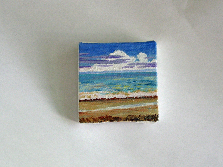 Shimmer  2x2 acrylic beach painting - mjjrosebuds