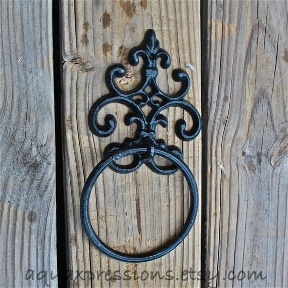 Black hand towel ring fleur de lis distressed by aquaxpressions - Fleur de lis towel bar ...