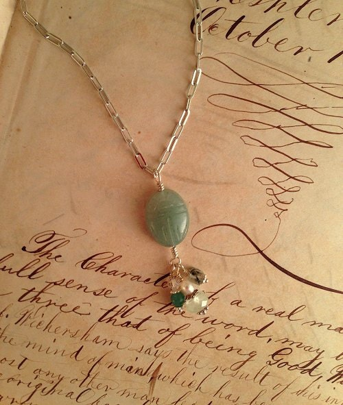 Carved scarab pendant necklace with prehnite, aventurine, and tourmalated quartz beads